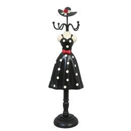 61715 - Juwelenhouder - 10 x 8 x 34 cm - hout - zwart