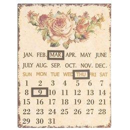 Clayre & Eef 60955 - Kalender - 25 x 33 cm - ijzer - natuur