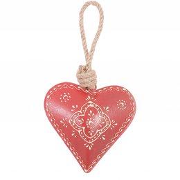 6Y0594 - Hart hangend - 10 x 10 cm - ijzer - rood