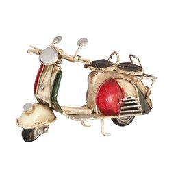 6Y1239 - Model scooter - 11 x 5 x 8 cm - ijzer - beige