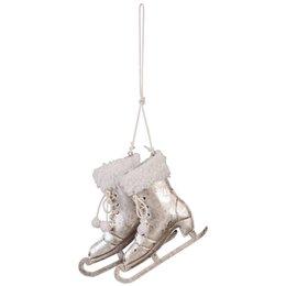 6Y1296 - Decoratie schaats hangend - 10 x 3 x 10 cm - ijzer - goud