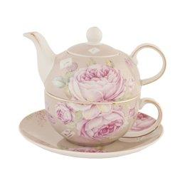 6CE0237 - Tea for one - Doorsnede/hoogte:  16 x 15 cm - keramiek - pink
