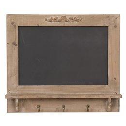 Clayre & Eef 40507 - Krijtbord met haakjes - 55 x 8 x 48 cm - hout - chocola