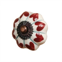 60063 - Deurknop - Doorsnede/hoogte:  3.5 cm - keramiek - rood