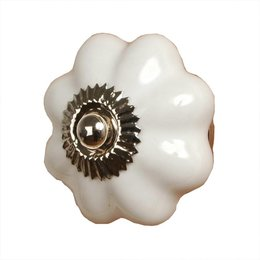 60071 - Deurknop - Doorsnede/hoogte:  4 cm - keramiek - wit