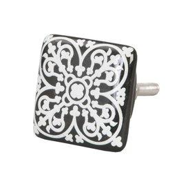 61884 - Deurknop - 3.5 x 3.5 cm - keramiek - zwart