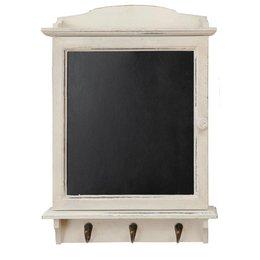 6H0011W - Krijtbord met haken - 34 x 8 x 47 cm - hout - wit