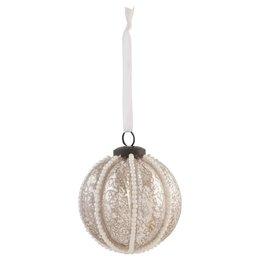Clayre & Eef 6GL0893 - Kerstbal - Doorsnede/hoogte: 8 x 8 cm - glas - zilver