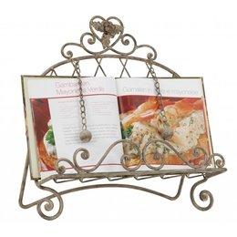 6Y0201 - Kookboekstandaard - 35 x 17 x 35 cm - ijzer - grijs