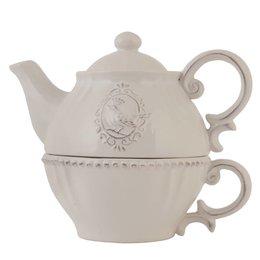 Clayre & Eef 6CE0371 - Tea for one - 18 x 12 x 16 cm - keramiek - natuur