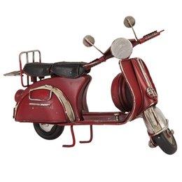 Clayre & Eef 6Y1476 - Model Scooter - 17 x 8 x 10 cm - ijzer - rood