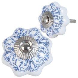 Clayre & Eef 63417 deurknopje doorsnede 4 cm keramiek blauw