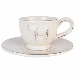 Clayre & Eef Cup and saucer Ø 15*7 cm / 0.2L