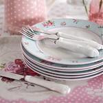 Porseleinen servies met rozen, in rose met zacht groene roosjes
