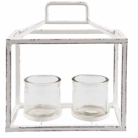 Clayre & Eef 6Y2508 Waxinelichthouder Kleur: wit Materiaal: ijzer Afmeting: 23*13*27 cm