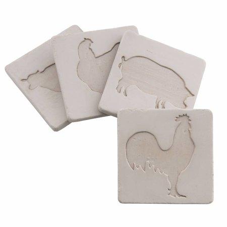Clayre & Eef 6CE0724 Onderzetters Kleur: wit Materiaal: keramiek Afmeting: 10*10 cm