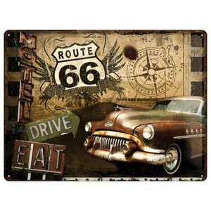 Nostalgic Art Tin Sign Route 66 Motel Drive Eat 40x30