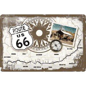 Nostalgic Art Tin Sign Route 66 Compass 30x20