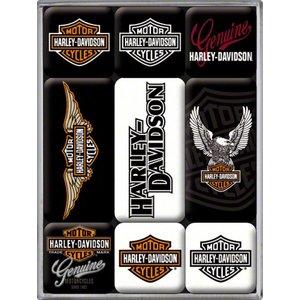 Nostalgic Art Magneetset Harley Davidson logo (9x)
