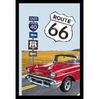 Bedrukte spiegel Route 66 Red Car