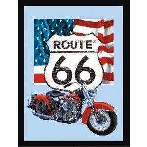 Bedrukte spiegel Route 66 Motor USA Flag