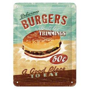 Nostalgic Art Tin Sign Delicious Burgers 15x20