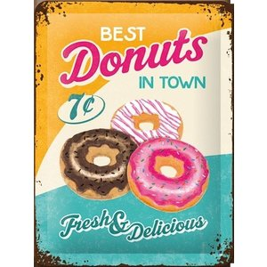 Nostalgic Art Tin Sign Best Donuts In Town 15x20