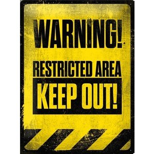 Nostalgic Art Tin Sign Warning Restricted Area Keep Out! 30x40