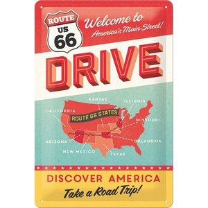 Nostalgic Art Tin Sign Route 66 Drive 20x30