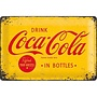 Nostalgic Art Tin Sign Coca Cola yellow logo 30x20