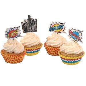 Ginger Ray Cupcake set Toppers en Vormpjes Pop Art Superhero