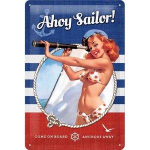 Nostalgic Art Tin Sign 20x30 Pin Up - Ahoy Sailor