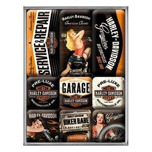 Nostalgic Art Magneetset Harley Davidson Babes (9x)