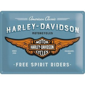 Nostalgic Art Tin Sign Harley Davidson Logo Blue 40x30 cm