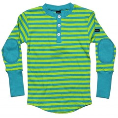 Moonkids Shirt Striped Henly Apple Green/Petrol Blue