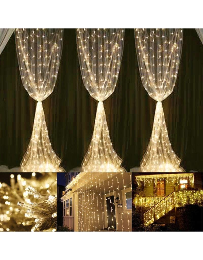 3x6m LED Lichtervorhang, 8 Modi, Lichterkette mit 594 LEDs, Verbindbar, Warmweiß