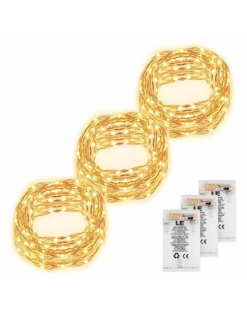 6M LED Kupferdraht Lichterkette, 60 LEDs, Kupfer, Wasserdicht, 3er ...