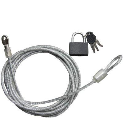 Security Kabel 5 meter met Vorhängeschloss x 4mm dikte