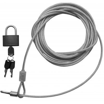 Security Kabel 5 meter met hangslot x 4mm dikte