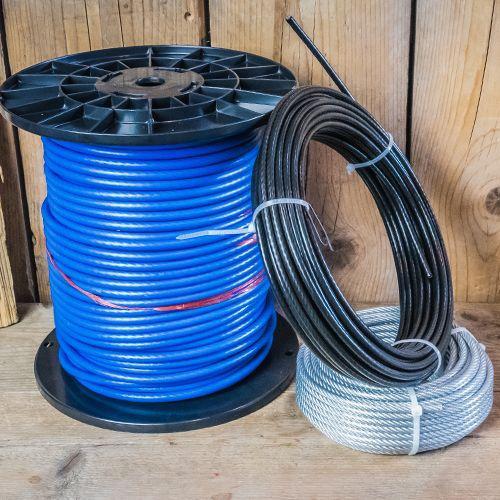 Staalkabel in geplastificeerde uitvoering PVC