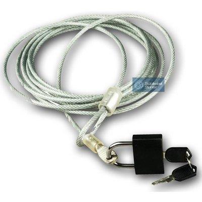 Kabelschloss mit Vorhängeschloss und 3 Schlüssel