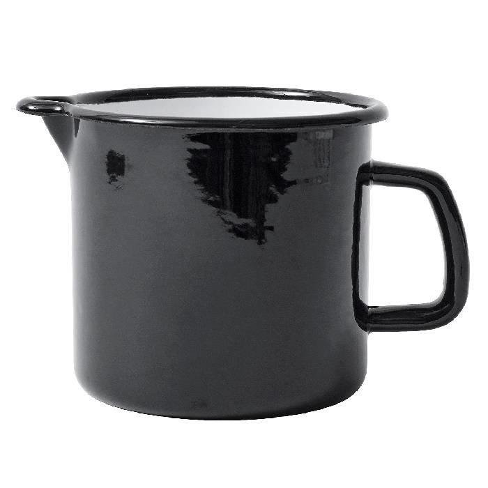 Zwarte emaille maatbeker - 1 liter