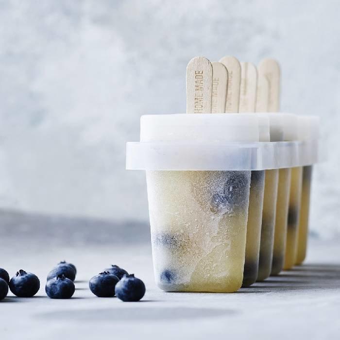 Set van 6 ijsvormpjes met 100 ijsstokjes