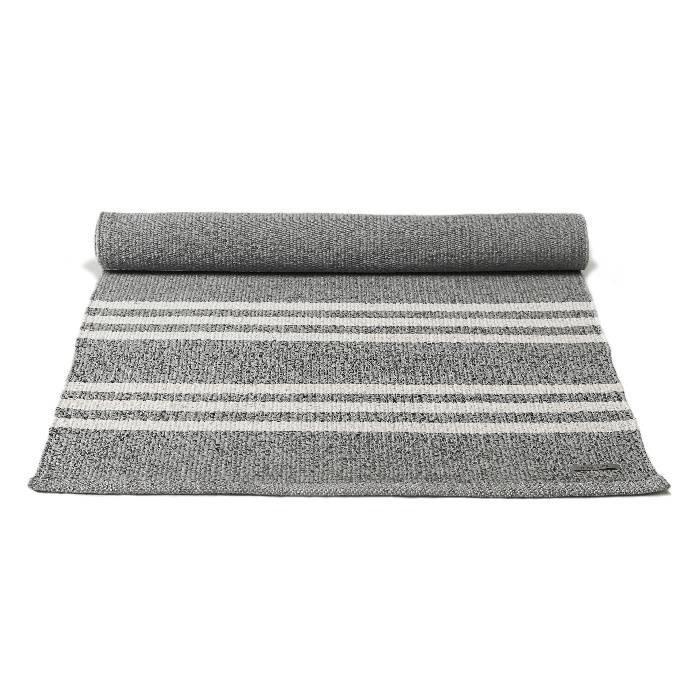 Gerecycled plastic vloerkleed: grijs - witte streep