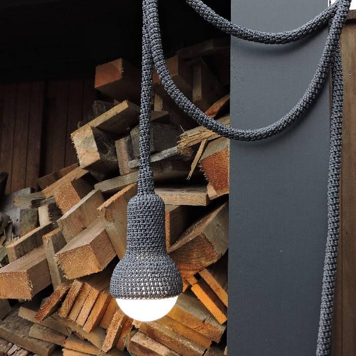 Gehaakt tuinlamp / buitenlamp Lampe: minerai / grijs