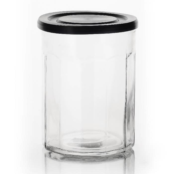 Voorraadpot van dik glas en zwart deksel: 1,5 liter