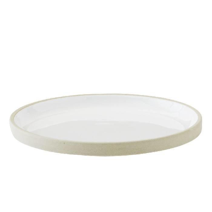 Aardewerken bord/tray met wit glazuur aan de binnenzijde