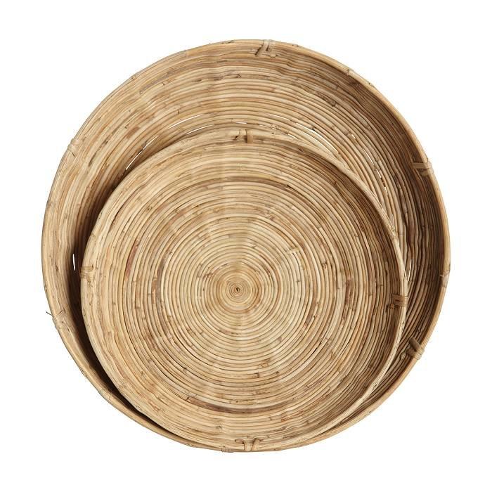 Chaka: ronde tray van rattan