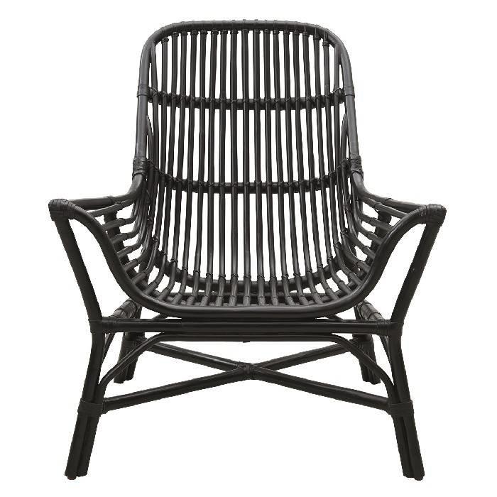 Rattan loungechair • zwart • hoogte 82 cm