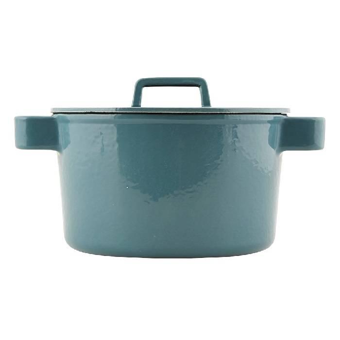 Gietijzeren grijsgroene braadpan Ø 20 cm / h 12,5 cm / 3,2 liter